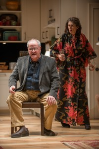 (left to right) Christopher (ensemble member Fran Guinan) and Beth (ensemble member Molly Regan) get worked up preparing for the arrival of their son, Billy and his new girlfriend in Steppenwolf Theatre Company's Chicago-premiere production of Tribes by Nina Raine, directed by ensemble member Austin Pendleton.