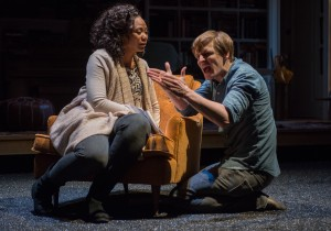 (left to right) Sylvia (ensemble member Alana Arenas) and Billy (John McGinty) in Steppenwolf Theatre Company's Chicago-premiere production of Tribes by Nina Raine, directed by ensemble member Austin Pendleton.