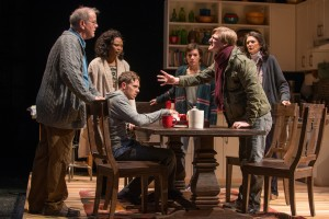 "(left to right) Christopher (ensemble member Francis Guinan), Sylvia (ensemble member Alana Arenas), Daniel (Steve Haggard), Ruth (Helen Sadler), Billy (John McGinty) and Beth (ensemble member Molly Regan) ""have an argument"" in Steppenwolf Theatre Company's Chicago-premiere production of Tribes by Nina Raine, directed by ensemble member Austin Pendleton."