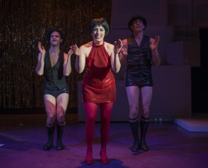 Andrew Swan, Danielle Plisz and John Francisco in About Face Theatre's 2013-14 production of WE THREE LIZAS with book & lyrics by Scott Bradley, music & additional lyrics by Alan Schmuckler and directed by Scott Ferguson.  Photo by Michael Brosilow.