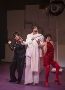 Mark David Kaplan, Bethany Thomas and Danielle Plisz in About Face Theatre's 2013-14 production of WE THREE LIZAS with book & lyrics by Scott Bradley, music & additional lyrics by Alan Schmuckler and directed by Scott Ferguson.  Photo by Michael Brosilow.