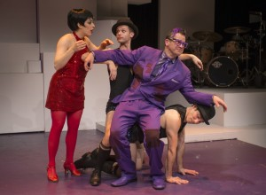 Danielle Plisz, Andrew Swan, Scott Duff and John Francisco in About Face Theatre's 2013-14 production of WE THREE LIZAS with book & lyrics by Scott Bradley, music & additional lyrics by Alan Schmuckler and directed by Scott Ferguson.  Photo by Michael Brosilow.