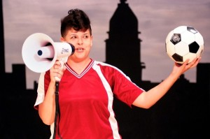 "Karen Anzoategui in ""¡Ser!"" presented by the Latino Theater Company at the Los Angeles Theatre Center."