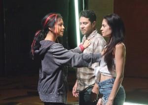"Amielynn Abellera, Justin Huen and Paula Christensen in Boston Court's production of ""Se Llama Cristina."""