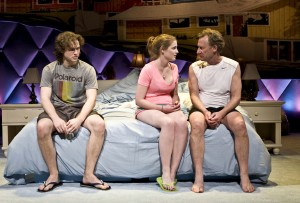 "Austin Cauldwell, Ella Dershowitz and Daniel Gerroll in The New Group's production of ""Intimacy."""