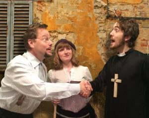 Brad Cantwell, Ellen Cribbs and Matt Beard in Commedia Beauregard's THE MANDRAKE.