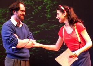 'Alan' (Brendan Hunt) and 'Gilda' (Erin Pineda) in Bunny Bunny – Gilda Radner: A Sort of Romantic Comedy at the Falcon Theatre.