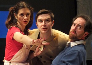 'Gilda' (Erin Pineda), 'Everyone Else' (Tom Fonss) and 'Alan' (Brendan Hunt) in Bunny Bunny – Gilda Radner: A Sort of Romantic Comedy at the Falcon Theatre.