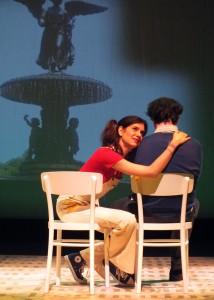 'Gilda' (Erin Pineda) and 'Alan' (Brendan Hunt) in Bunny Bunny – Gilda Radner: A Sort of Romantic Comedy at the Falcon Theatre.