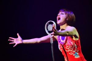 Megan Sikora in Cabaret at  the Marriott Theatre.