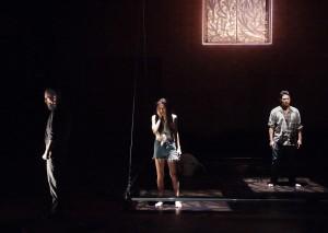"Christian Rummel, Paula Christensen and Justin Huen in Boston Court's production of ""Se Llama Cristina."""