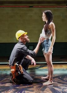 "Christian Rummel and Paula Christensen in Boston Court's production of ""Se Llama Cristina."""