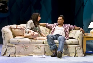 "Déa Julien and David Anzuelo in The New Group's production of ""Intimacy."""