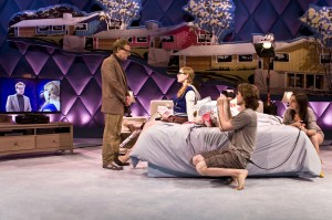 "Daniel Gerroll, Ella Dershowitz, Austin Cauldwell and Déa Julien in The New Group's production of ""Intimacy."""
