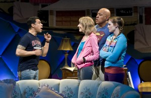 """David Anzuelo, Laura Esterman, Keith Randolph Smith and Ella Dershowitz in The New Group's production of """"Intimacy."""""""