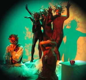 """Fairy Tale Forest from """"Instant Fairy Tales: The Longest Winter"""" by Rachel Rosenthal Company's TOHUBOHU! Extreme Theatre Ensemble at Espace DbD."""