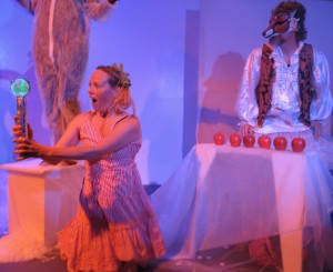 """Scene from """"Instant Fairy Tales: The Longest Winter"""" by Rachel Rosenthal Company's TOHUBOHU! Extreme Theatre Ensemble at Espace DbD."""