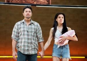 "Justin Huen and Paula Christensen in Boston Court's production of ""Se Llama Cristina."""