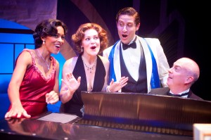 "Jennifer Shelton, Lindsey Alley, and Marc Ginsburg (with Brian Baker on piano) in International City Theatre's production of ""Let's Misbehave."""