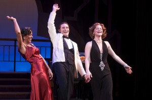 "Jennifer Shelton, Marc Ginsburg, Lindsey Alley in International City Theatre's production of ""Let's Misbehave."""
