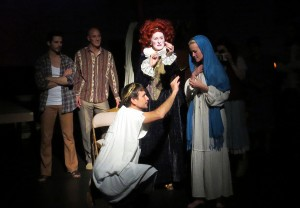 Daniel Bess, Dylan Kenin, Christian Leffler, Shannon Holt and Dorie Barton in Sarah Ruhl's PASSION PLAY at the Odyssey Theatre. Photo by Michael Gend.