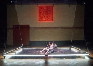 "Paula Christensen and Justin Huen in Boston Court's production of ""Se Llama Cristina."""