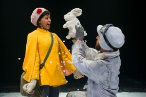 Paige Collins (Rose) and Dan Toot (puppeteer) in THE ROSE AND THE RIME by The House Theatre of Chicago.