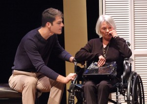 "Alex Denny and Susan Davis in Casa 0101's production of Josefina López' ""A Cat Named Mercy."""
