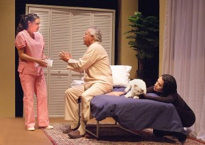 "Alex Ximenea, Henry Madrid and Beatriz Eugenia Vasquez in Casa 0101's production of Josefina López' ""A Cat Named Mercy."""