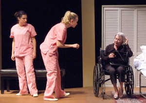 "Alex Ximenez, Marquel Skinner and Susan Davis in Casa 0101's production of Josefina López' ""A Cat Named Mercy."""