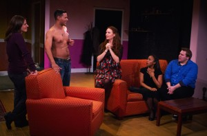 "Alina Phelan, Alexis DeLaRosa, Esther Canata, Grace Eboigbe, and Travis Moscinski in Steve Yockey's ""Disassembly"" at Theatre of NOTE in Hollywood."