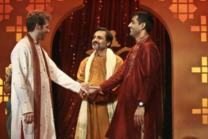 Archit (center, played by Anjul Nigam) approves of the nuptials between Keshav (Christian Durso) and son Naveen (Andy Gala) in A NICE INDIAN BOY at East West Players.