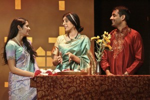 Arundhathi (Mouzam Makkar), Megha (Rachna Khatau) and Naveen (Andy Gala) moments before Naveen's wedding in A NICE INDIAN BOY at East West Players.