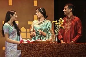 Arundhathi (Mouzam Makkar), Megha (Rachna Khatau) and Naveen (Andy Gala) moments before Naveen's wedding in A NICE INDIAN BOY at East West Players.