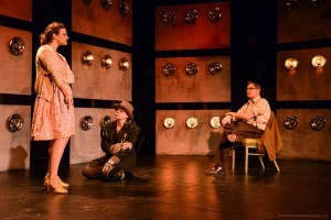"Betsy Moore as Joan Vollmer, Donnelle Fuller as Willy Lee, and Curt Bonnem as William S. Burroughs in ""Bill & Joan"" at Sacred Fools Theater Company."
