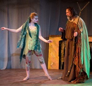 Callie Johnson as Ariel and Dave Skvarla as Prospero in City Lit's production of Shakespeare's THE TEMPEST - Photo by Cole Simon.