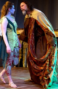 Callie Johnson as Ariel and Dave Skvarla as Prospero in City Lit's production of Shakespeare's THE TEMPEST. Photo by Cole Simon.