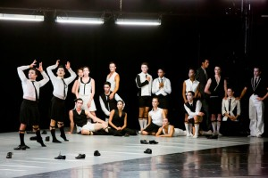 Derrick Agnoletti and Aaron Rogers (both far left) in Alexander Ekman's EPISODE 31 at The Joffrey Ballet.
