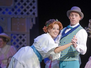 Donna Louden as Ethel Toffelmier and Matt Walker as Marcellus Washburn in Musical Theatre West's THE MUSIC MAN.