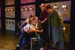"Donnelle Fuller, Lauren Campedelli, Matt Valle, Curt Bonnem, Will McMichael and Bart Tangredi in ""Bill & Joan"" at Sacred Fools Theater Company."
