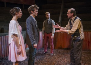 Eleni Pappageorge, Christopher Sheard, Jake Szczepaniak and Larry Neumann, Jr. in Profiles Theatre's production of COCK.