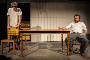 """Ian Bamberg and Michael McColl in Tommy Smith's """"Firemen,"""" directed by Chris Fields, Echo Theater Company at the Atwater Village Theater."""