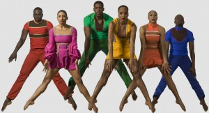 "Adryan Moorefield, Courtney Robinson, Janine Beckles, Rosita Adamo, Tommie-Waheed Evans, and Victor Lewis Jr. in ""Bewildered,"" part of JAMES BROWN: GET ON THE GOOD FOOT, A CELEBRATION IN DANCE."