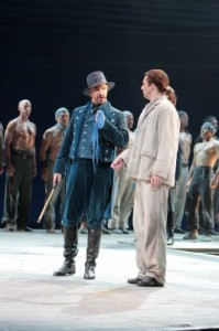 Greer Grimsley as John Claggart and Liam Bonner as Billy Budd in LA Opera's BILLY BUDD.