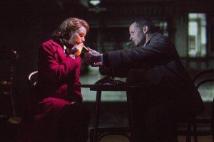 Hannah Yell and and Jim Sturgeon in Kneehigh's BRIEF ENCOUNTER at the Brad Goldsmith Theater, Wallis Annenberg Center.