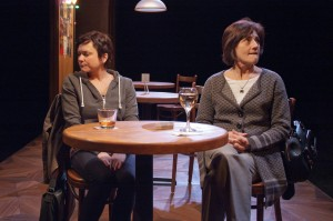 Elizabeth Ledo (left) as Rachel Hardeman and Janet Ulrich Brooks as Zelda Kahn, both brilliant evolutionary biologists who spar over differing views on evolution, feminism and generational divides in modern America in TimeLine Theatre's production of THE HOW AND THE WHY by Sarah Treem, directed by Keira Fromm, presented at TimeLine Theatre.