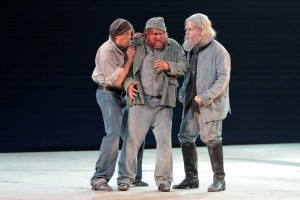 Jonathan Michie (Donald), Greg Fedderly (Red Whiskers) and James Creswell (Dansker) in LA Opera's BILLY BUDD.