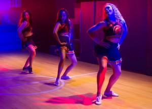 Klarissa Mesee, Danielle Rosario and Devon Hadsell in LYSISTRATA JONES at the Chance Theater in Anaheim.