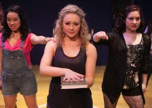 Klarissa Mesee, Devon Hadsell and Ashley Arlene Nelson in LYSISTRATA JONES at the Chance Theater in Anaheim.