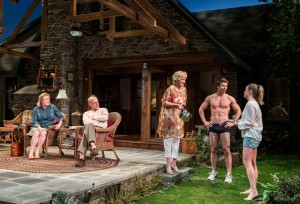Kristine Nelson, Mark Blum, Christine Ebersole, David Hull, and Liesel Allen Yeager in VANYA AND SONIA AND MASHA AND SPIKE at the Center Theatre Group's Mark Taper Forum.